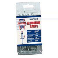 Aluminium Rivets 4 x 7mm Short Pre-Pack of 100