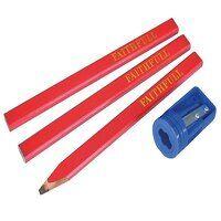 Carpenter's Pencils Red (Pack 3 + Sharpener)