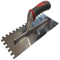 Notched Trowel Serrated 10mm Stainless Steel Soft Grip Handle 13 x 4.1/2in