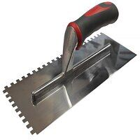 Notched Trowel Serrated 6mm Stainless Steel Soft Grip Handle 11 x 4.1/2in