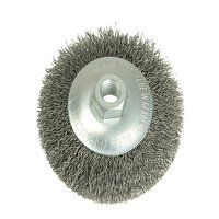 Conical Bevel Brush 100mm x M14 Bore, 0.35 Steel W...