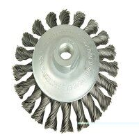 Conical Knot Brush 115mm M14 Bore, 0.35 Steel Wire