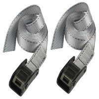 Lashing Strap with Metal Buckle, Grey 2.5m 150kg (Pack 2)