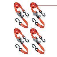 Ratchet Tie-Down S-Hooks 4.25m Red 4 Piece