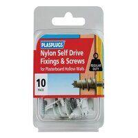 Nylon Self Drive Fixings & Screws Pack of 10