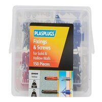Fixings & Screws Kit for Solid & Hollow Walls, 150 Piece