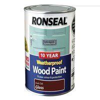 10 Year Weatherproof Wood Paint Dark Oak Gloss 750...