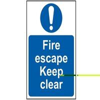 Fire Escape Keep Clear - PVC 200 x 300mm
