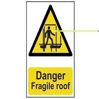 Danger Fragile Roof - PVC 200 x 300mm
