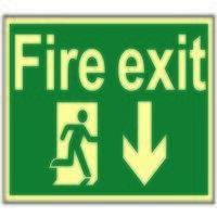 Fire Exit Running Man Arrow Down - Photo...