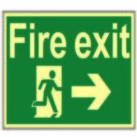 Fire Exit Running Man Arrow Right - Phot...
