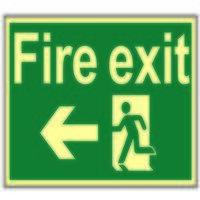 Fire Exit Running Man Arrow Left - Photo...