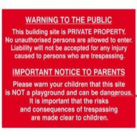 Building Site Warning To Public And Parents - PVC ...