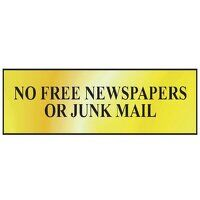 No Free Newspapers Or Junk Mail - Polished Brass E...