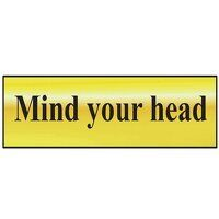 Mind Your Head - Polished Brass Effect 200 x 50mm