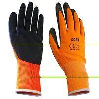 Hi-Vis Orange Foam Latex Coated Gloves - L (Size 9...