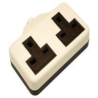 White Trailing Extension Socket 13A 2-Gang