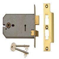 2077-5 3 Lever Horizontal Mortice Lock Polished Br...