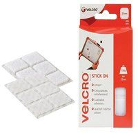VELCRO® Brand Stick On Squares 25mm White (Pack 24...