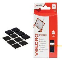 VELCRO® Brand Stick On Squares 25mm Black (Pack 24...