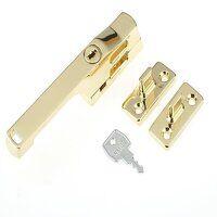 P115PB Lockable Window Handle Polished Brass Finis...