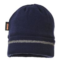 Reflective Trim Knit Hat Insulatex Lined (Navy / R...