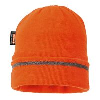Reflective Trim Knit Hat Insulatex Lined (Orange / R)