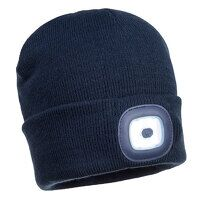 Rechargeable Twin LED Beanie (Navy / R)
