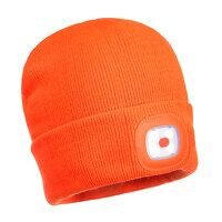 Rechargeable Twin LED Beanie (Orange / R)