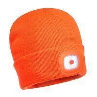 Beanie LED Head Light USB Rechargeable (Orange / R)
