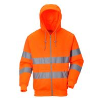 Hi-Vis Zip Front Hoodie (Orange / Large / R)