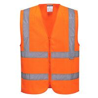 Hi-Vis Zipped Band & Brace Vest (Orange / Large / R)