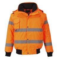 Hi-Vis 3-in-1 Bomber Jacket (Orange / Large / R)