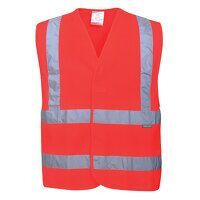 Hi-Vis Two Band & Brace Vest (Red / SM / R)