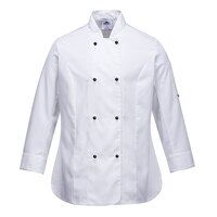 Rachel Ladies Long Sleeve Chefs Jacket (White / La...