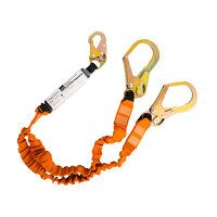 Double 140kg Lanyard with Shock Absorber (BkOr / R)