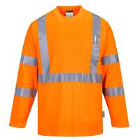 Hi-Vis Long Sleeve Pocket T-Shirt  (Orange / 4XL /...