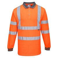 Hi-Vis Long Sleeved Polo (Orange / XL / R)