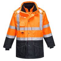 Hi-Vis 7-in-1 Contrast Traffic Jacket (OrNa / Medi...