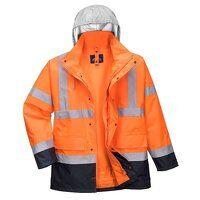 Hi-Vis 4-in-1 Contrast Traffic Jacket (OrNa / Smal...