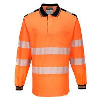 PW3 Hi-Vis Polo Shirt L/S (OrBk / Large / R)