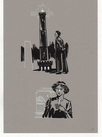 ill. Giuseppe Palumo from Nader Ghazvinizadeh, Dante e l'indovinello della Garisenda,  Edizioni Minerva, Bologna, 2020