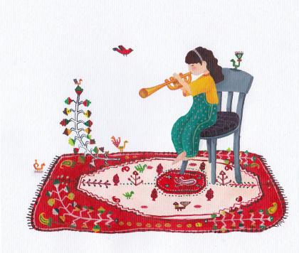 Child and magic carpet