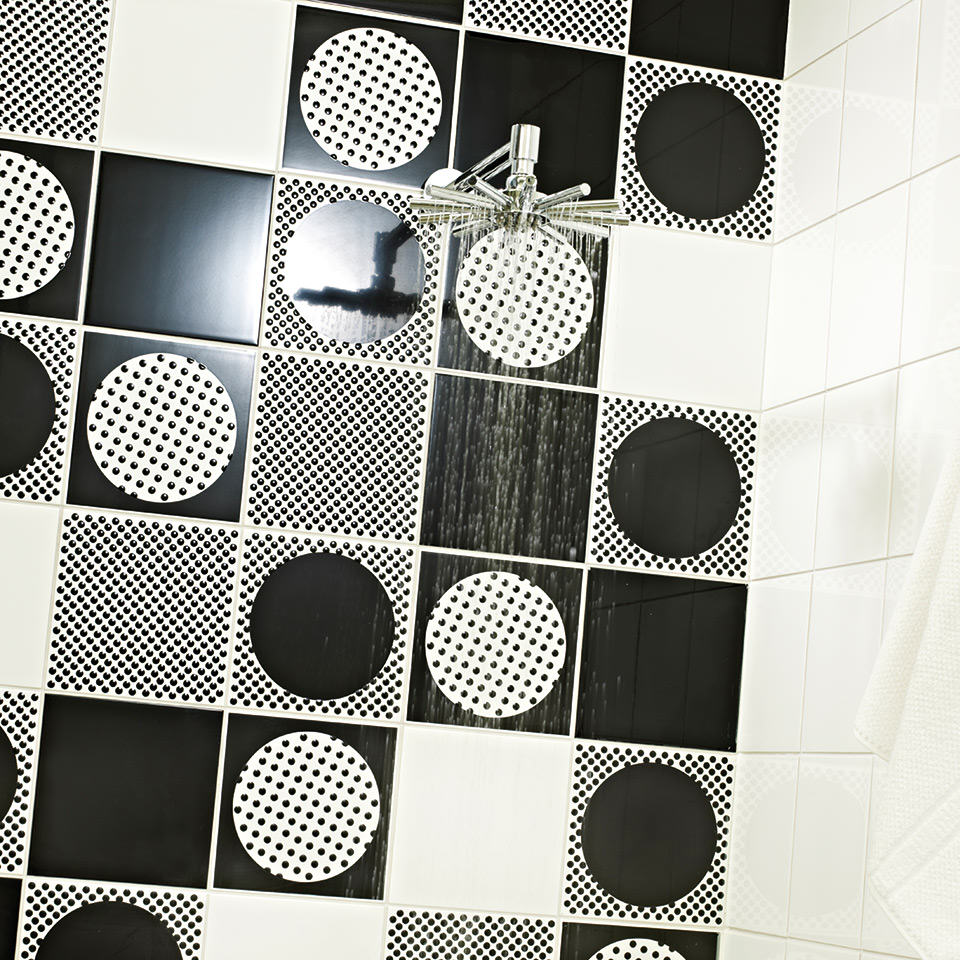 designer wall tiles Hemingway Lots of Dots used in shower space
