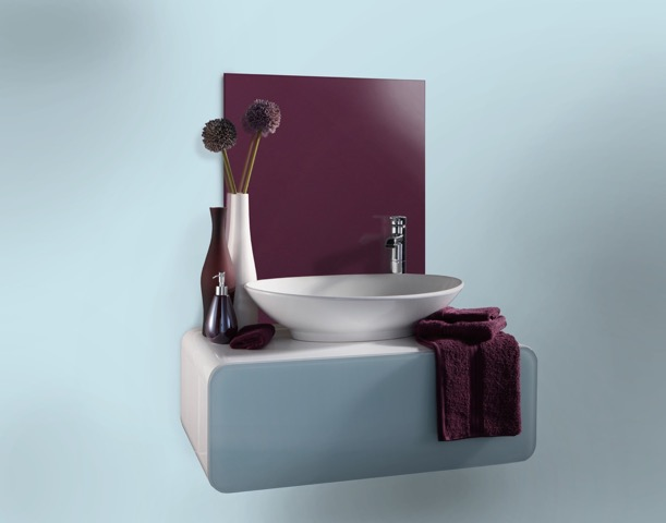 aubergine Impact glass splashback above bathroom sink against a pale blue wall