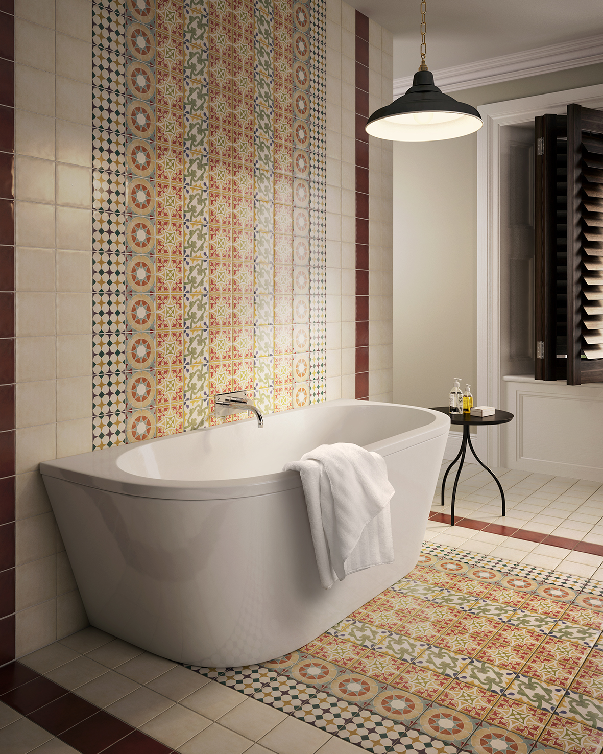 Patchwork pattern with parian british ceramic tile - Faience salle de bain beige ...