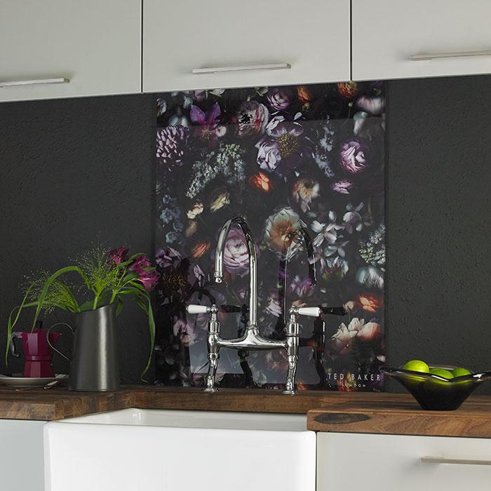 ted baker vintage floral kitchen splashback shown with white kitchen and natural wood worktops