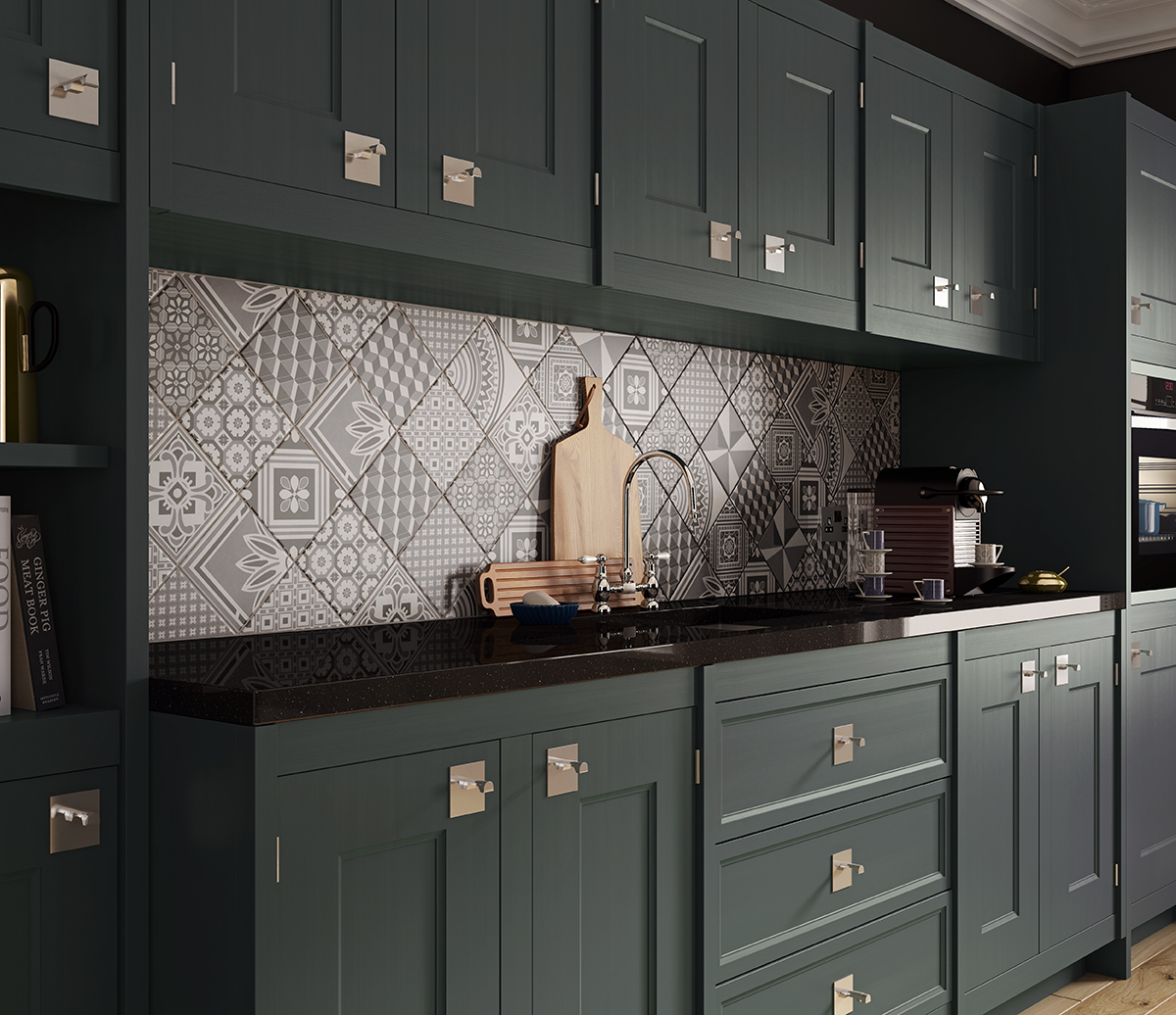 Ted Baker GeoTile kitchen tiles porcelain tiles used as splashback in black kitchen