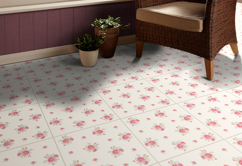 Laura Ashley designer floor tile Vintage Rose style BCT28673