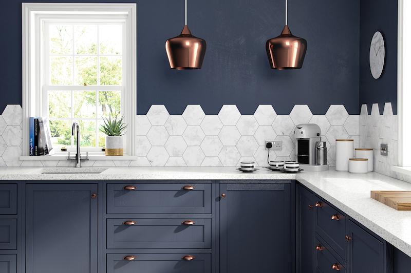HD Laurel Hex white marble